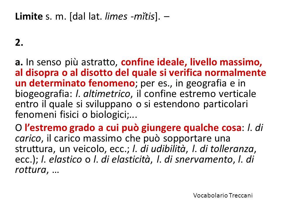 Limite s. m. [dal lat. limes -mĭtis]. –
